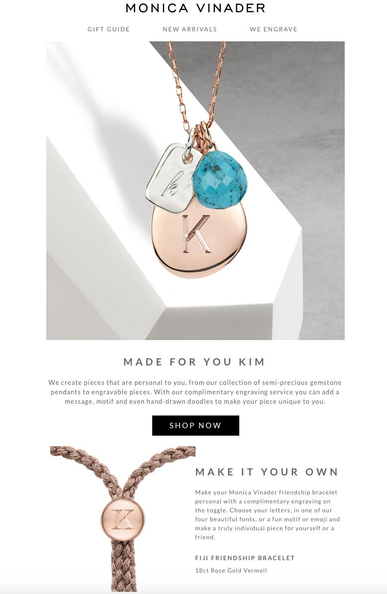 Monica Vinader upgraded their email marketing
