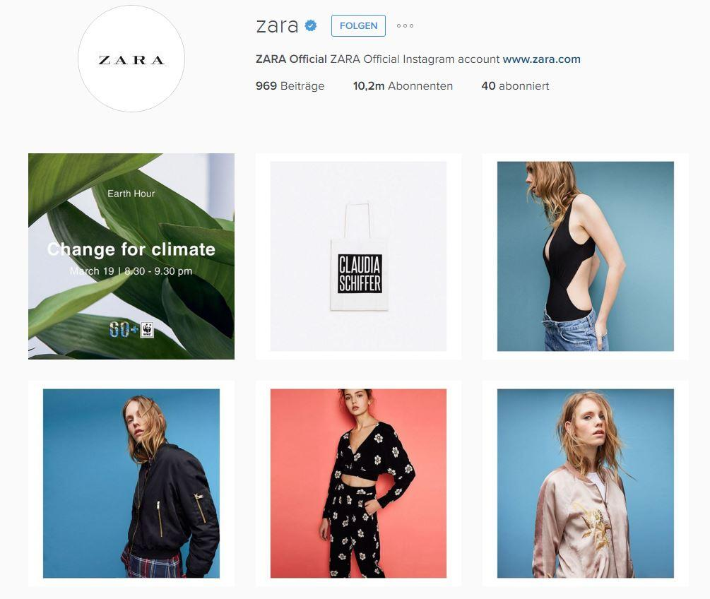 Zara Instagram account - Knexus blog