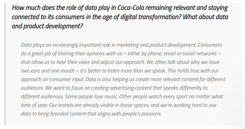 Coca Cola using data insights to stay relevant