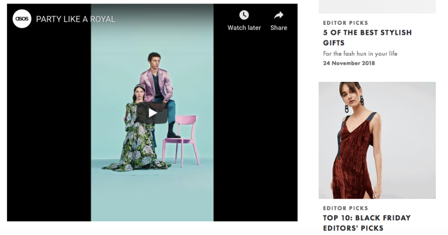 ASOS using youtube video content