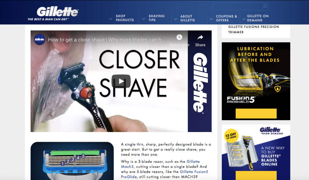 Gillette using youtube video content