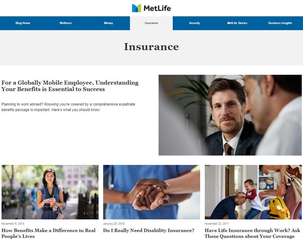 Metlife Insurance content hub
